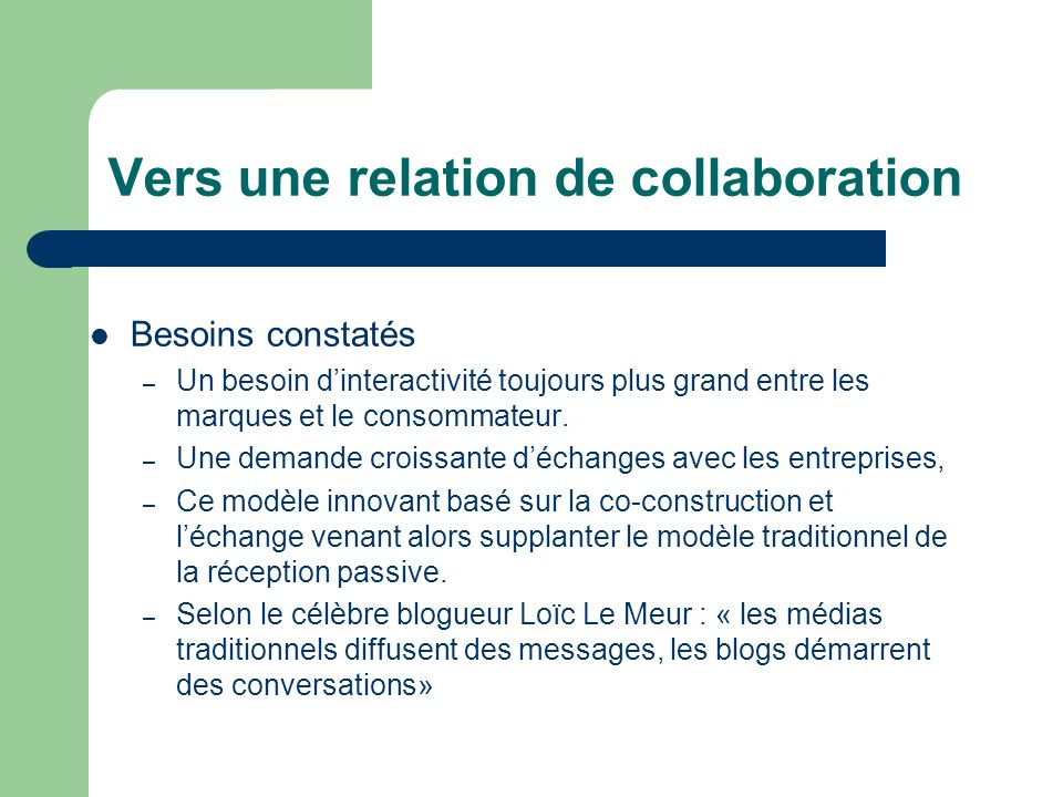Vers une relation de collaboration