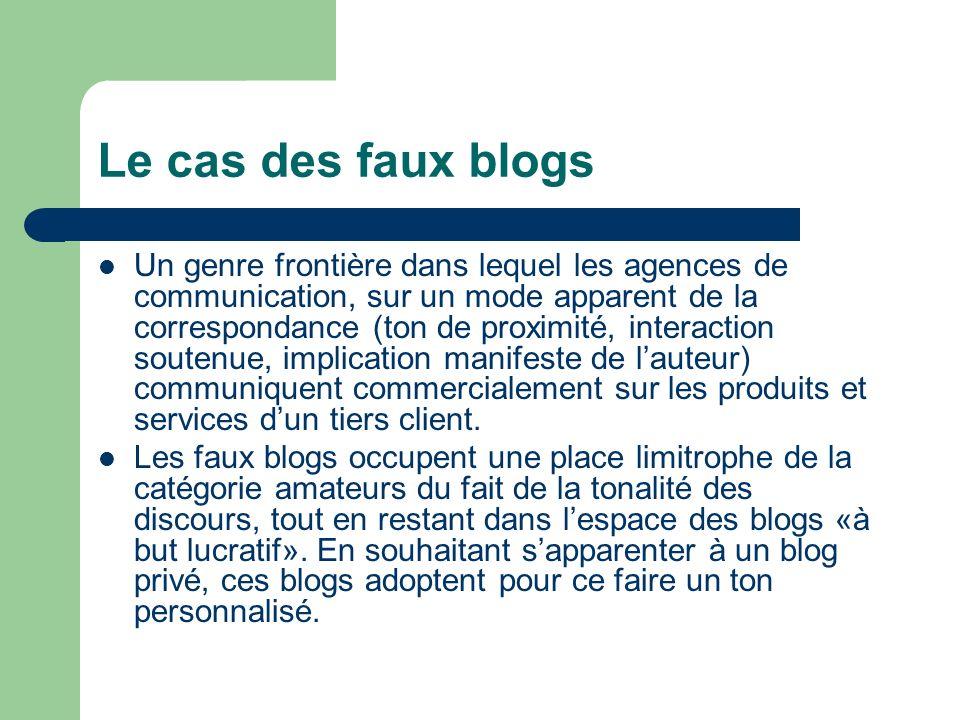 Le cas des faux blogs