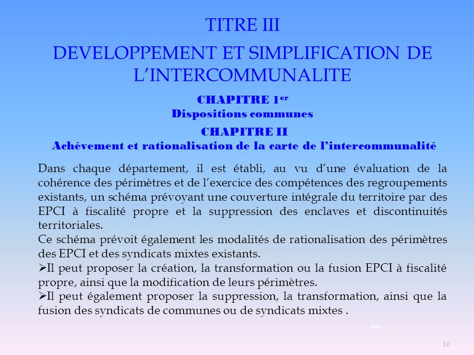 DEVELOPPEMENT ET SIMPLIFICATION DE L'INTERCOMMUNALITE