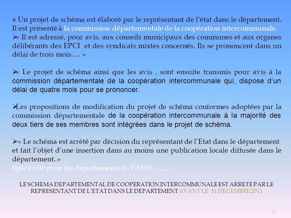 Spécificité pour les départements de PARIS……..