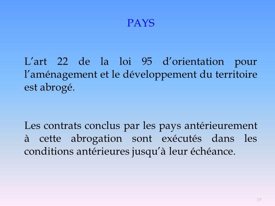 PAYS L'art 22 de la loi 95 d'orientation pour l'aménagement et le développement du territoire est abrogé.