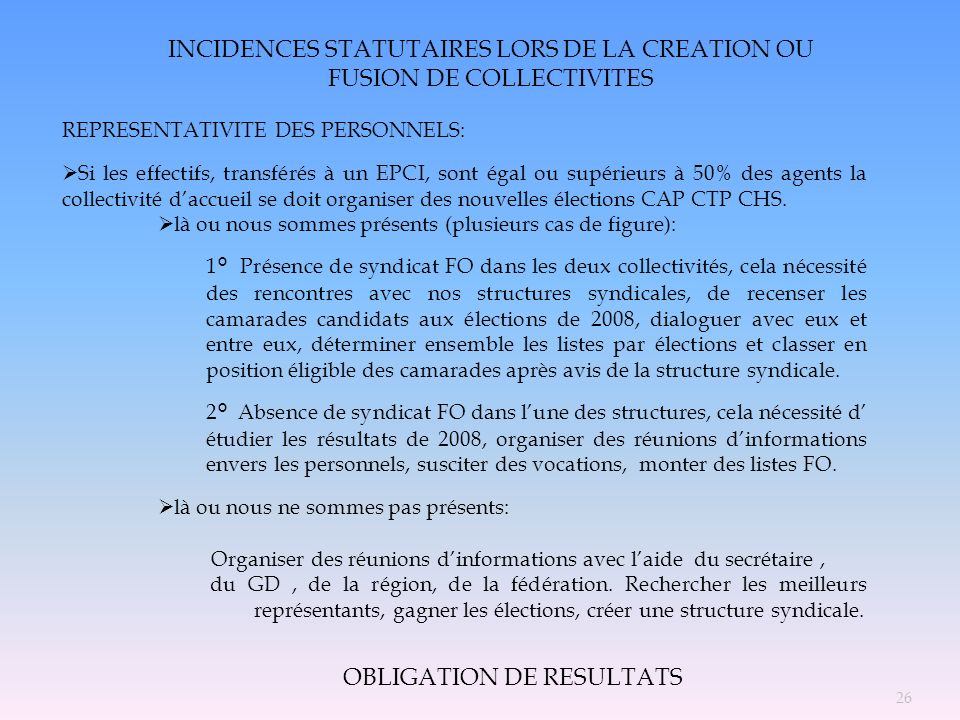 INCIDENCES STATUTAIRES LORS DE LA CREATION OU FUSION DE COLLECTIVITES