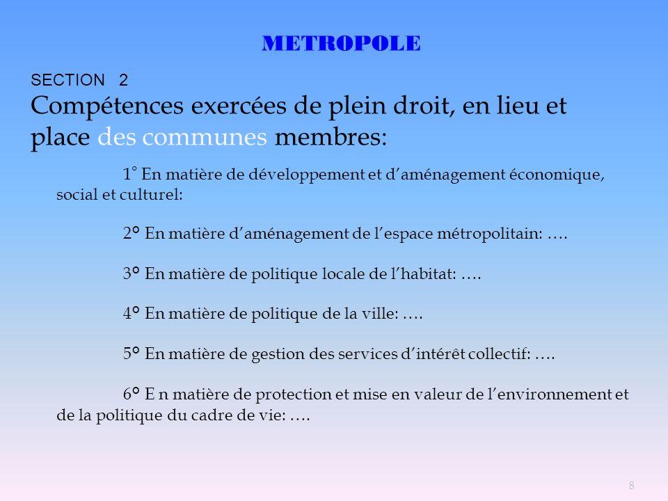 METROPOLE SECTION 2. Compétences exercées de plein droit, en lieu et place des communes membres: