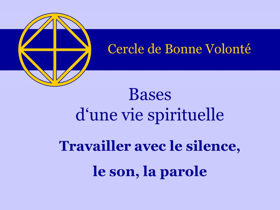 Bases d'une vie spirituelle