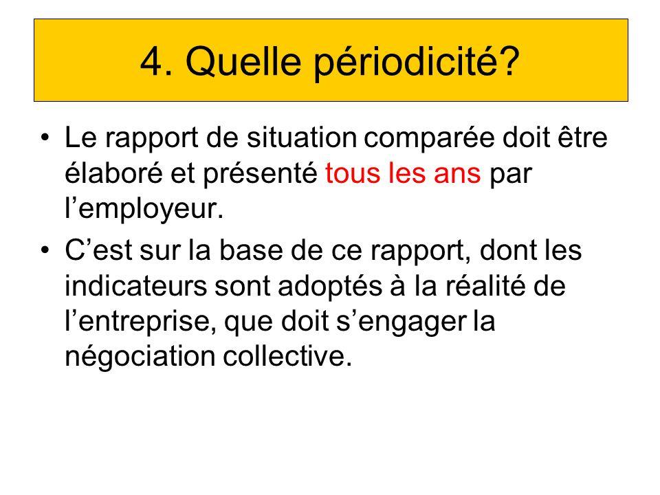 4. Quelle périodicité Le rapport de situation comparée doit être élaboré et présenté tous les ans par l'employeur.
