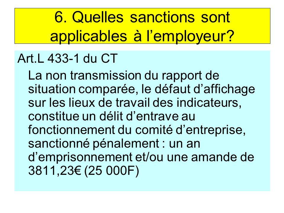 6. Quelles sanctions sont applicables à l'employeur