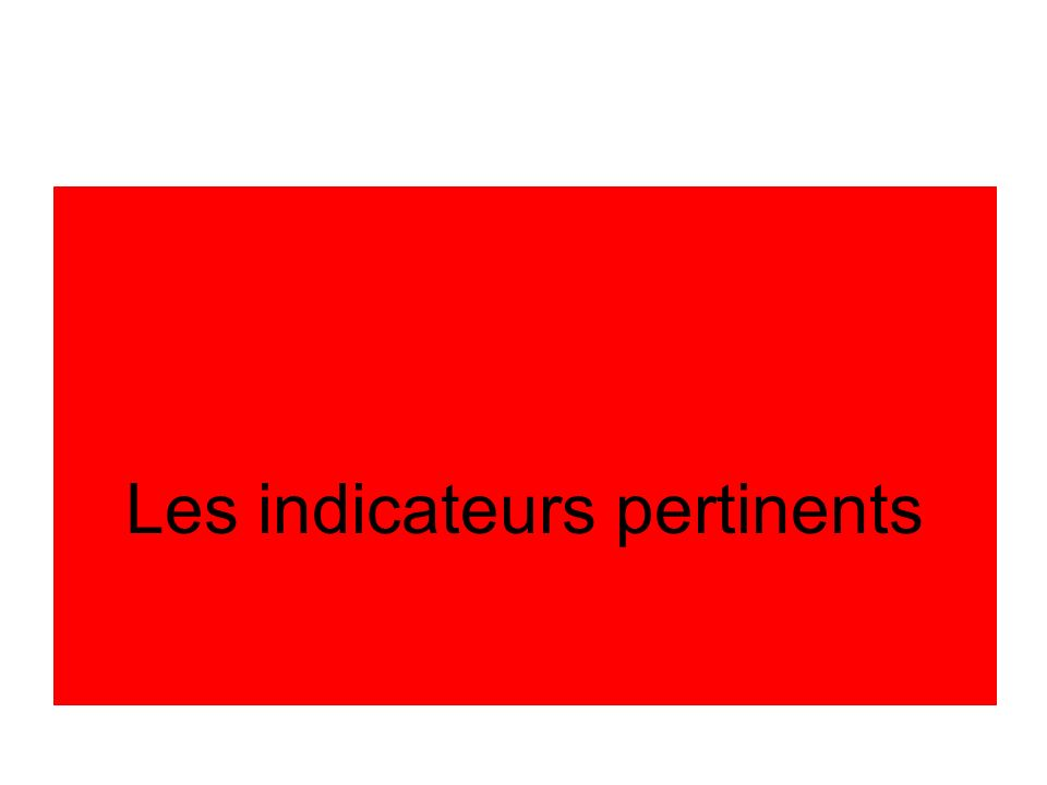 Les indicateurs pertinents