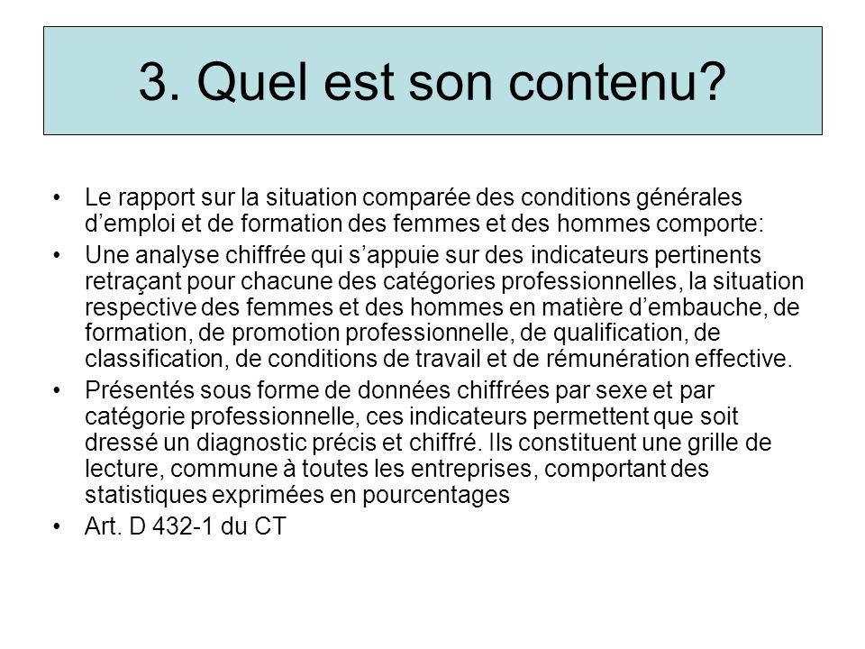 3. Quel est son contenu Le rapport sur la situation comparée des conditions générales d'emploi et de formation des femmes et des hommes comporte: