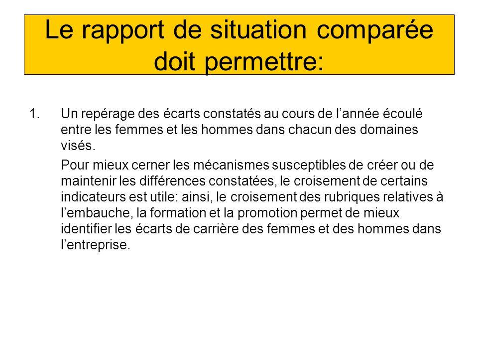 Le rapport de situation comparée doit permettre: