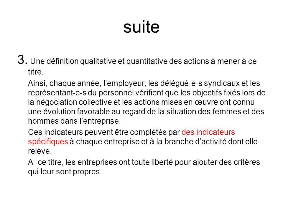 suite 3. Une définition qualitative et quantitative des actions à mener à ce titre.