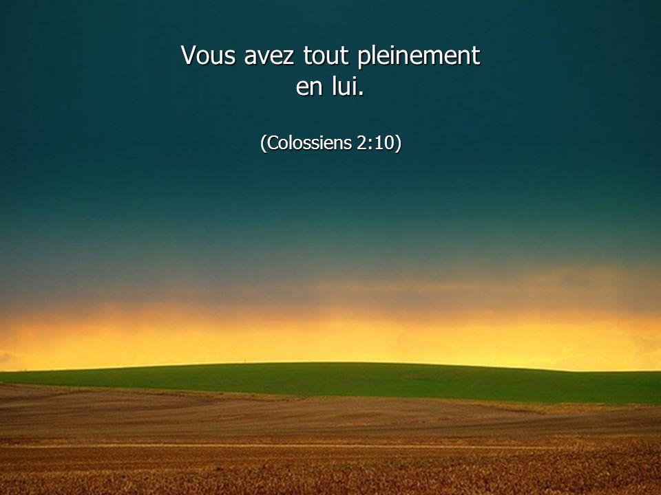 Vous avez tout pleinement en lui. (Colossiens 2:10)