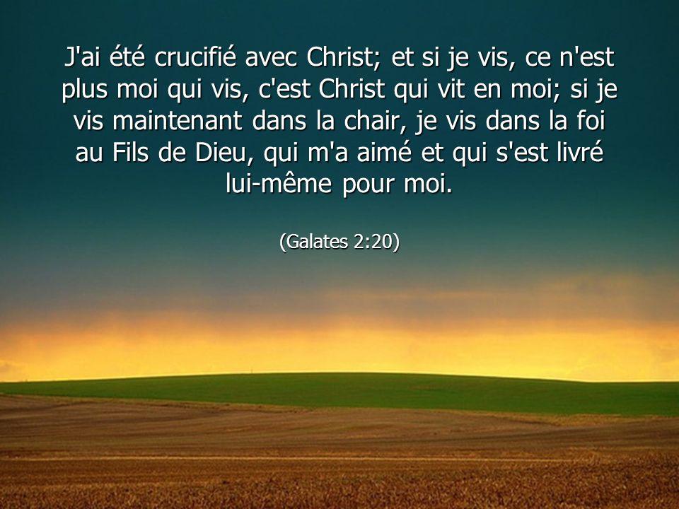 J ai été crucifié avec Christ; et si je vis, ce n est plus moi qui vis, c est Christ qui vit en moi; si je vis maintenant dans la chair, je vis dans la foi au Fils de Dieu, qui m a aimé et qui s est livré lui-même pour moi.