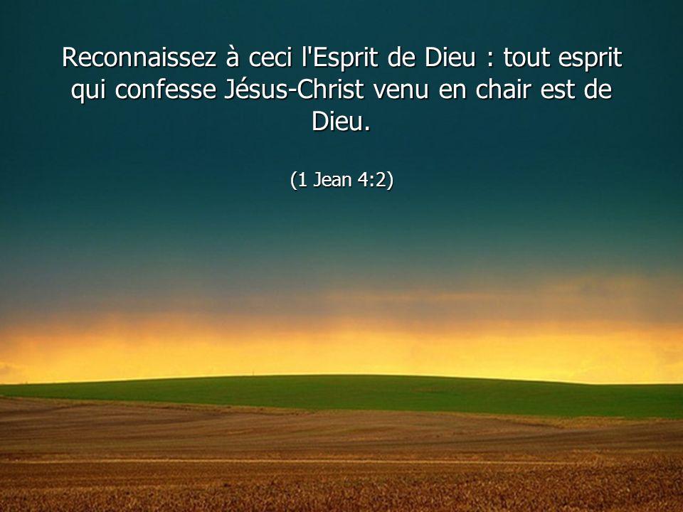 Reconnaissez à ceci l Esprit de Dieu : tout esprit qui confesse Jésus-Christ venu en chair est de Dieu.