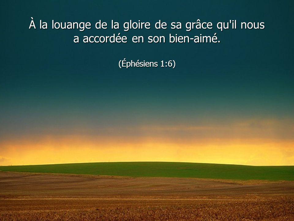 À la louange de la gloire de sa grâce qu il nous a accordée en son bien-aimé. (Éphésiens 1:6)