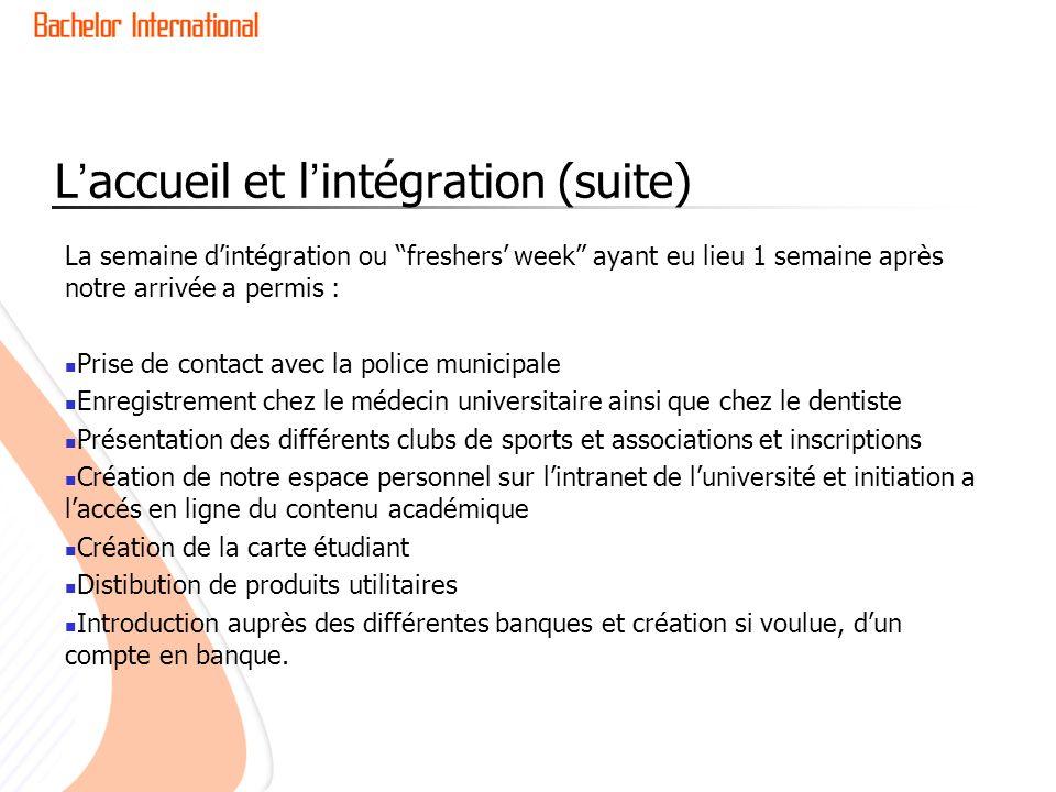 L'accueil et l'intégration (suite)