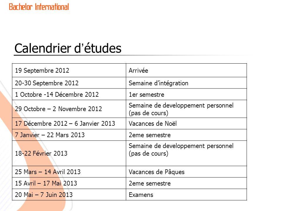 Calendrier d'études 19 Septembre 2012 Arrivée 20-30 Septembre 2012