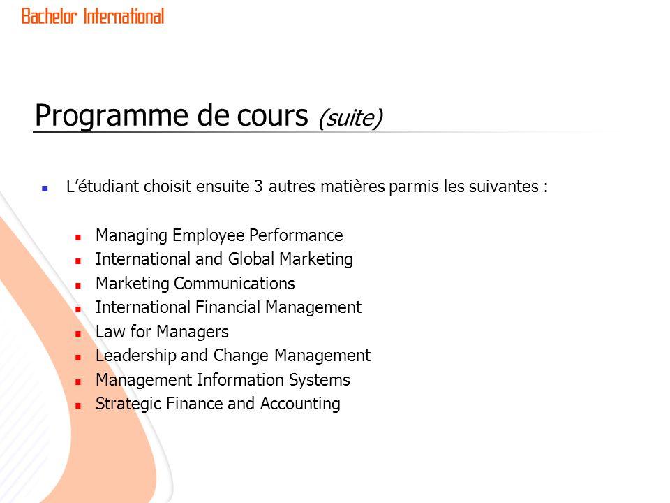 Programme de cours (suite)