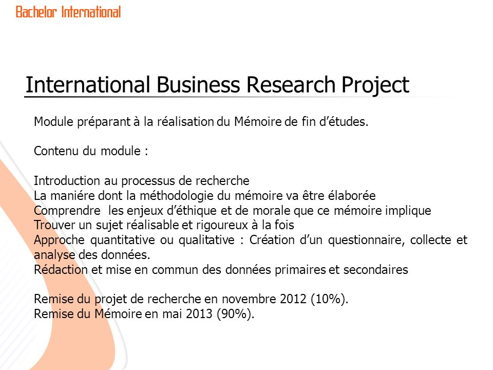 International Business Research Project