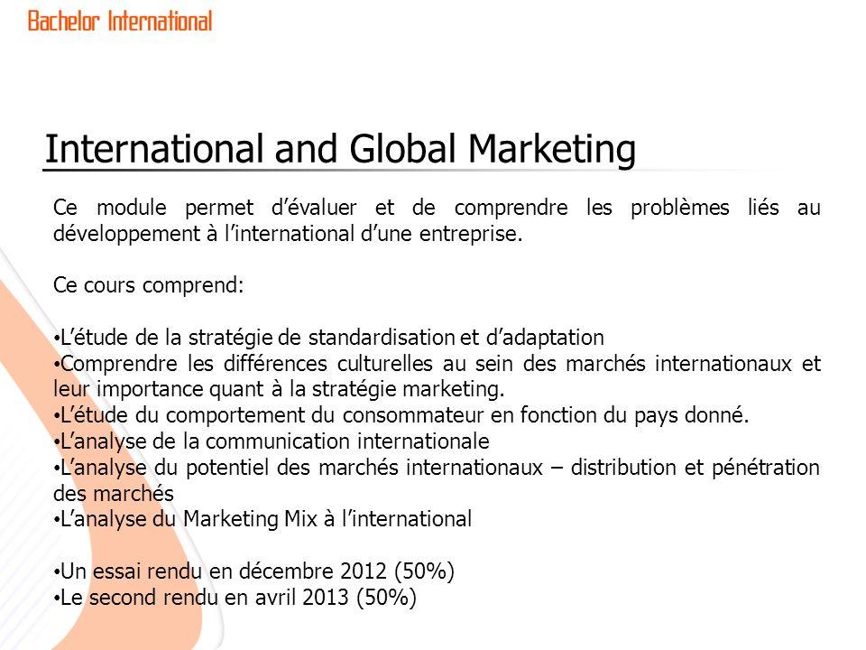 International and Global Marketing