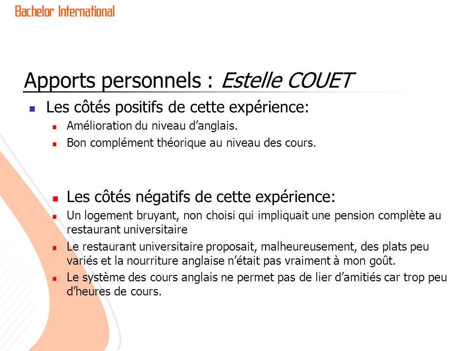 Apports personnels : Estelle COUET