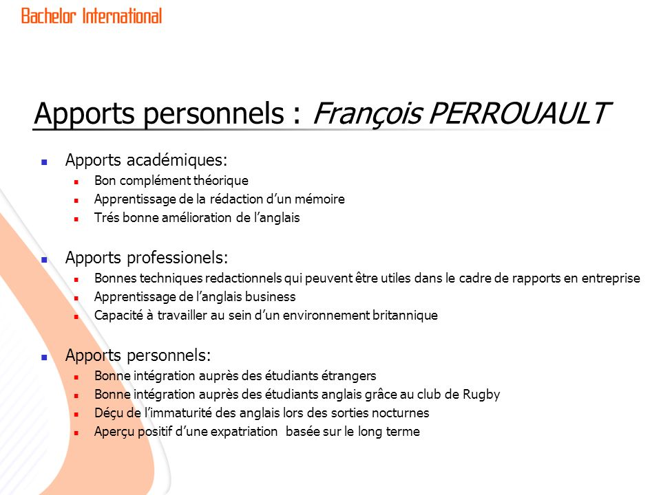 Apports personnels : François PERROUAULT