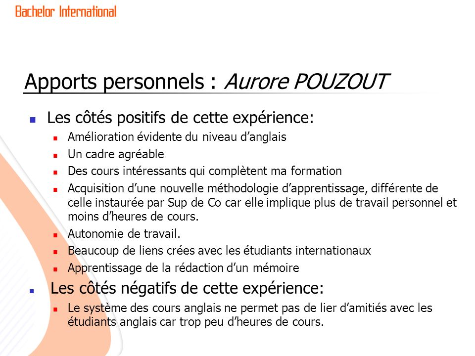 Apports personnels : Aurore POUZOUT