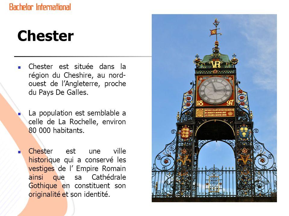 Chester Chester est située dans la région du Cheshire, au nord-ouest de l'Angleterre, proche du Pays De Galles.