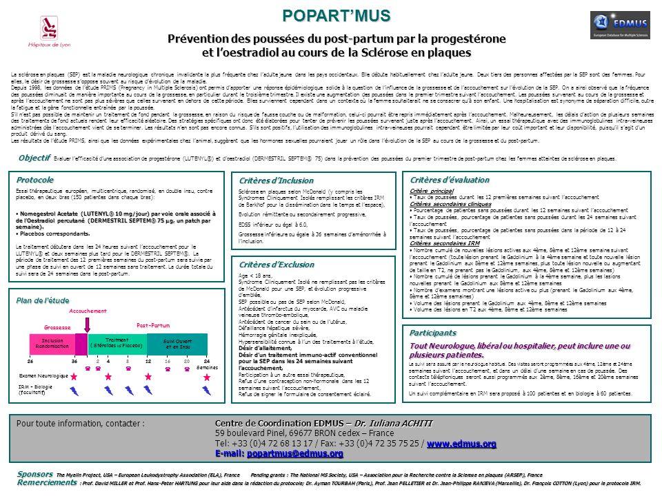 POPART'MUS Prévention des poussées du post-partum par la progestérone et l'oestradiol au cours de la Sclérose en plaques.