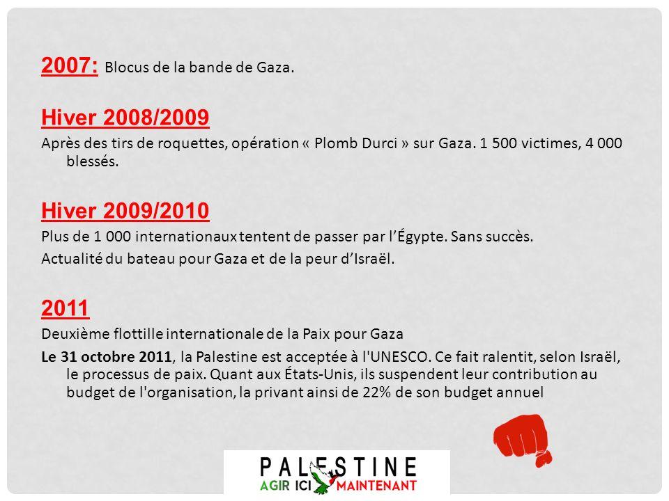 2007: Blocus de la bande de Gaza. Hiver 2008/2009