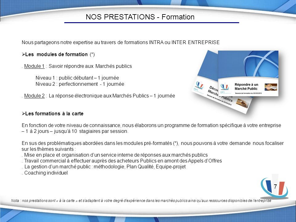 NOS PRESTATIONS - Formation
