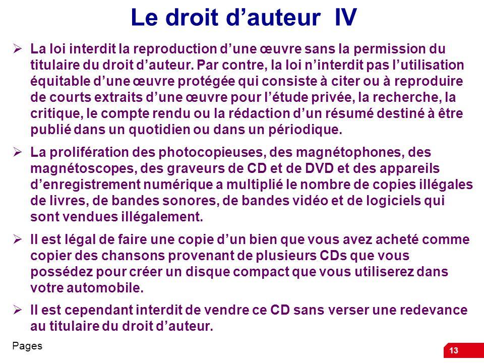 Le droit d'auteur IV