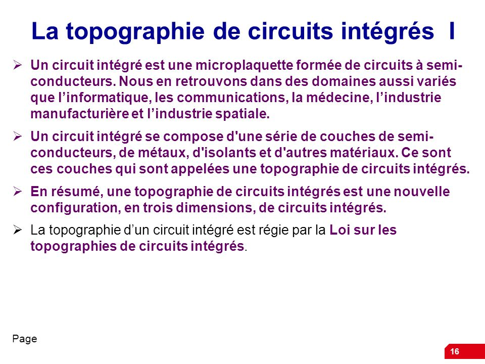 La topographie de circuits intégrés I