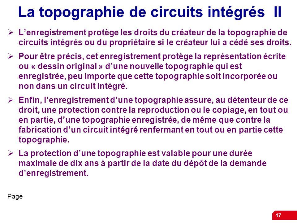 La topographie de circuits intégrés II