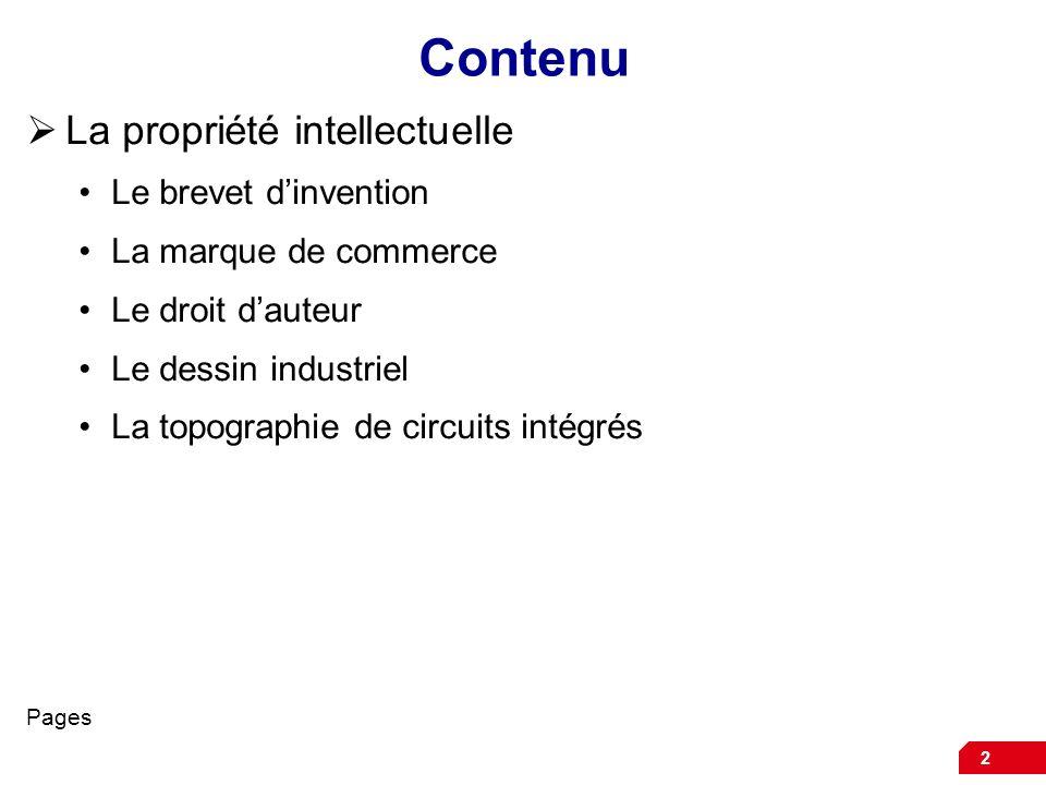 Contenu La propriété intellectuelle Le brevet d'invention