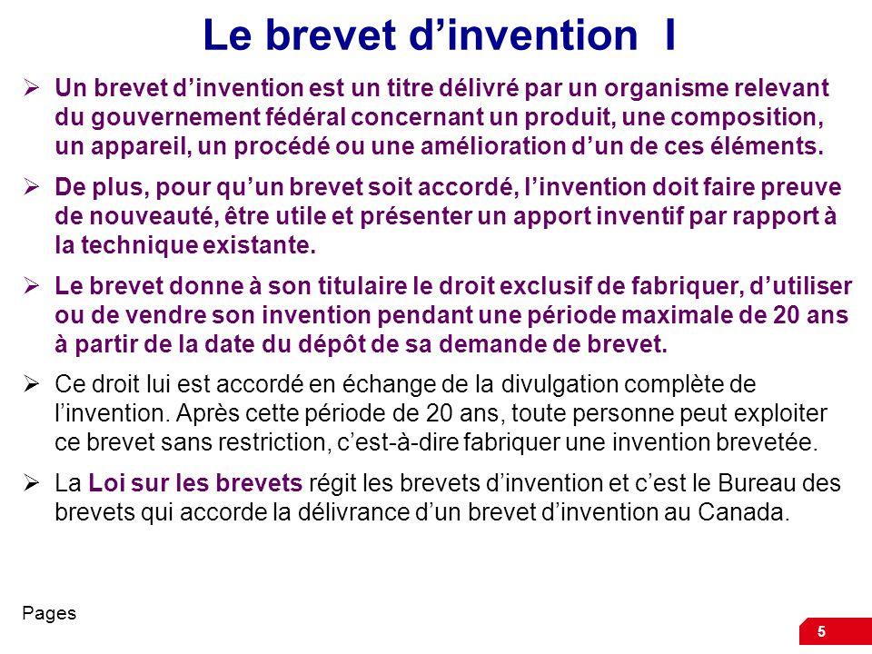 Le brevet d'invention I