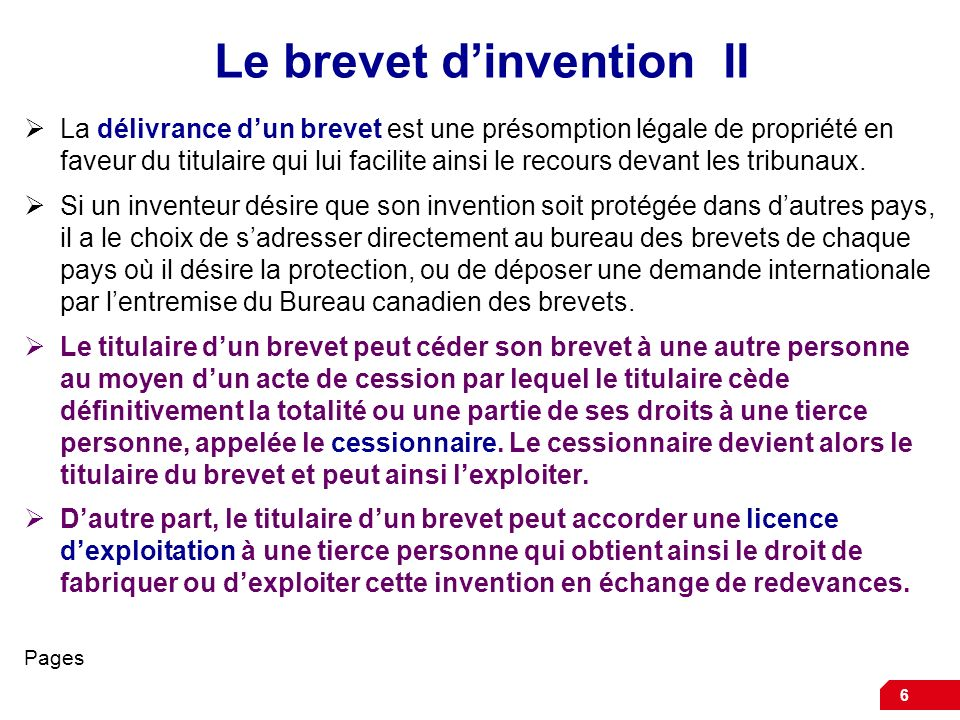 Le brevet d'invention II
