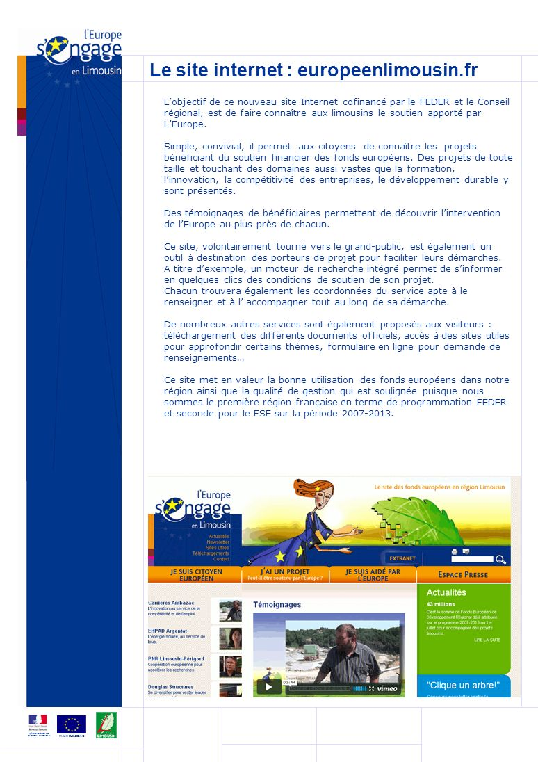 Le site internet : europeenlimousin.fr