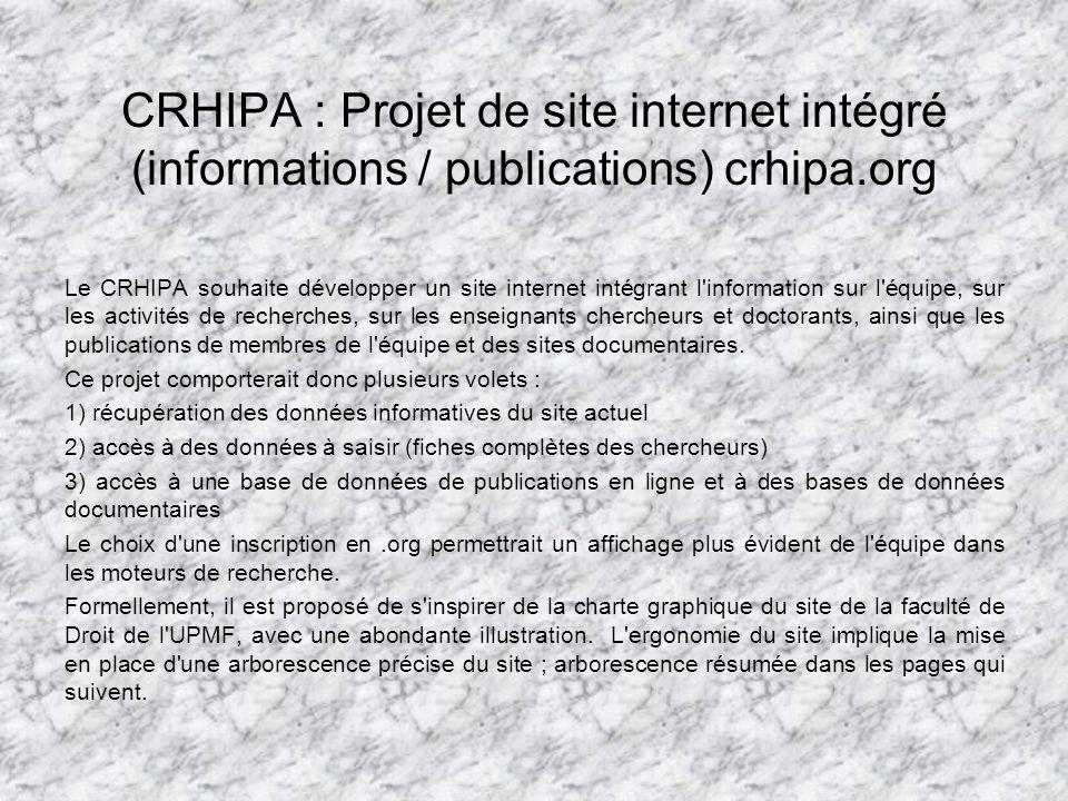CRHIPA : Projet de site internet intégré (informations / publications) crhipa.org