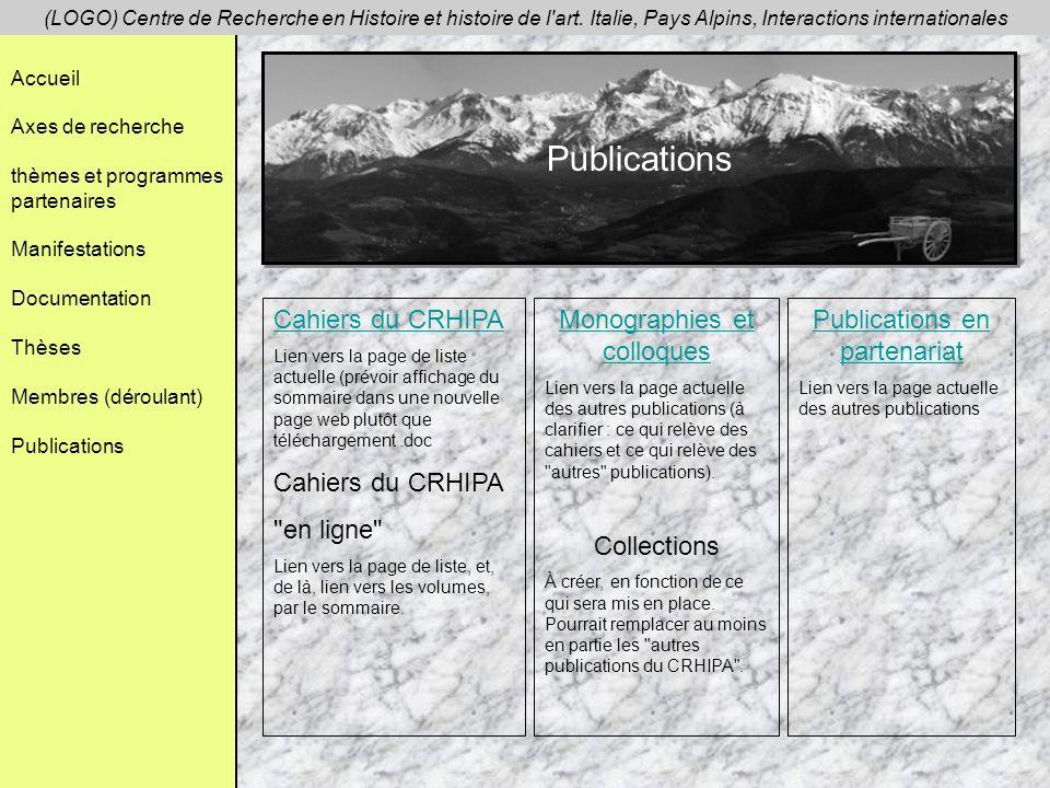 Publications Cahiers du CRHIPA en ligne Monographies et colloques
