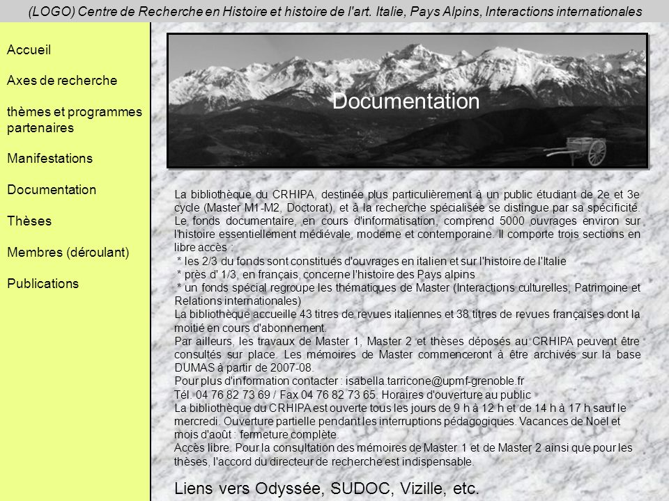 Documentation Liens vers Odyssée, SUDOC, Vizille, etc.