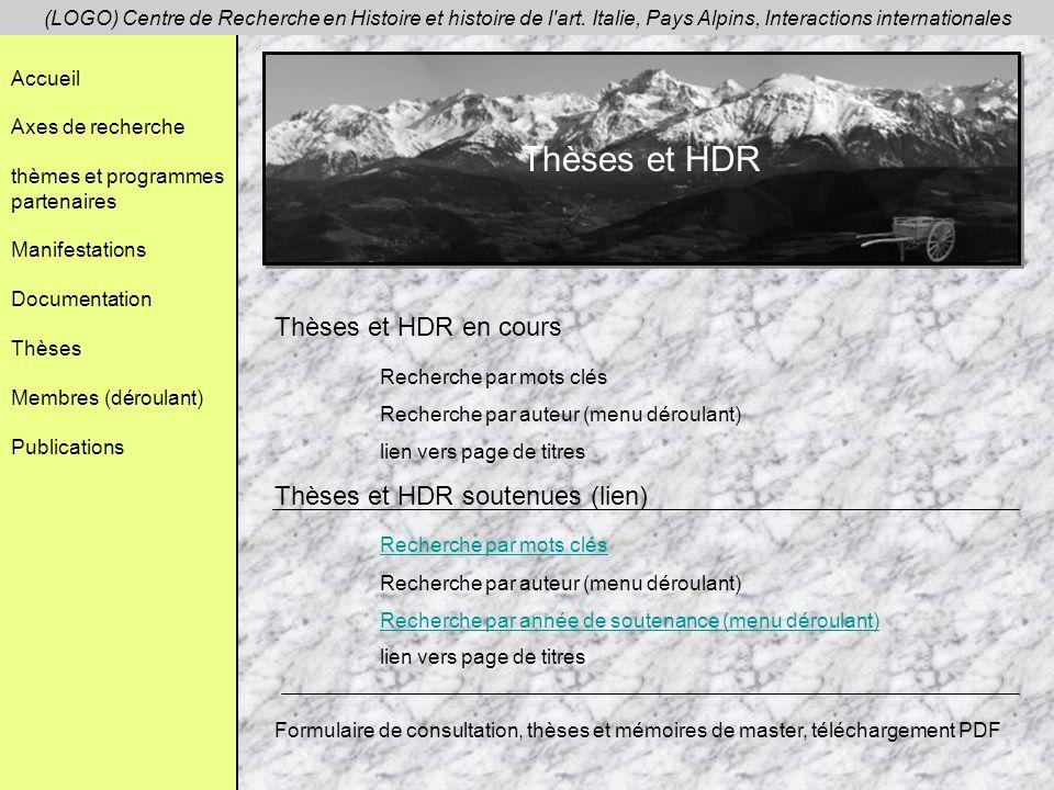 Thèses et HDR Thèses et HDR en cours Recherche par mots clés