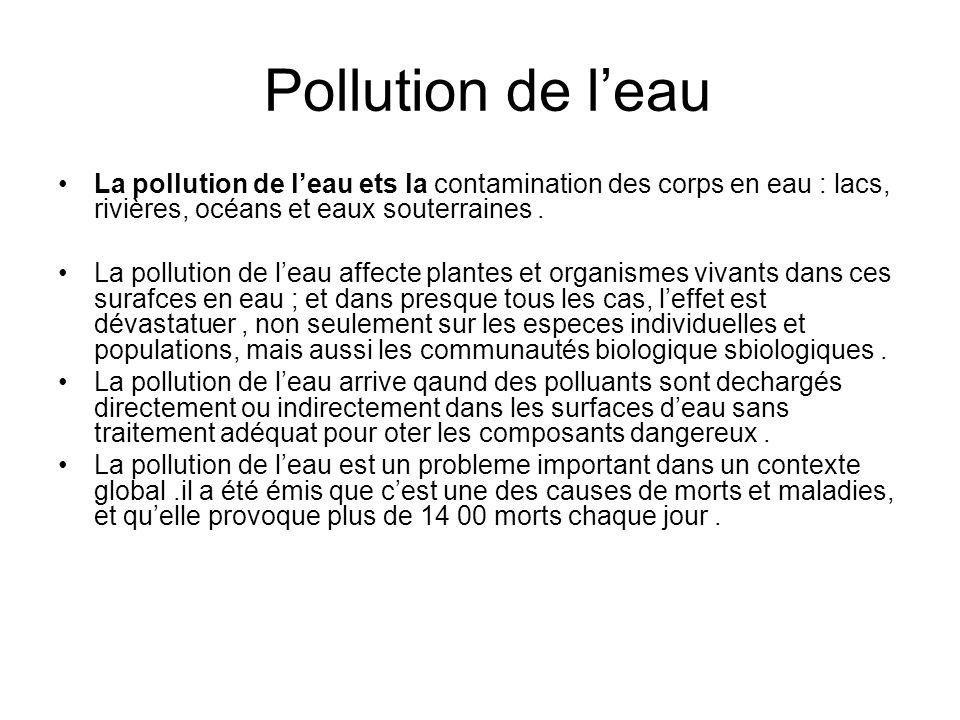 Pollution de l'eau La pollution de l'eau ets la contamination des corps en eau : lacs, rivières, océans et eaux souterraines .