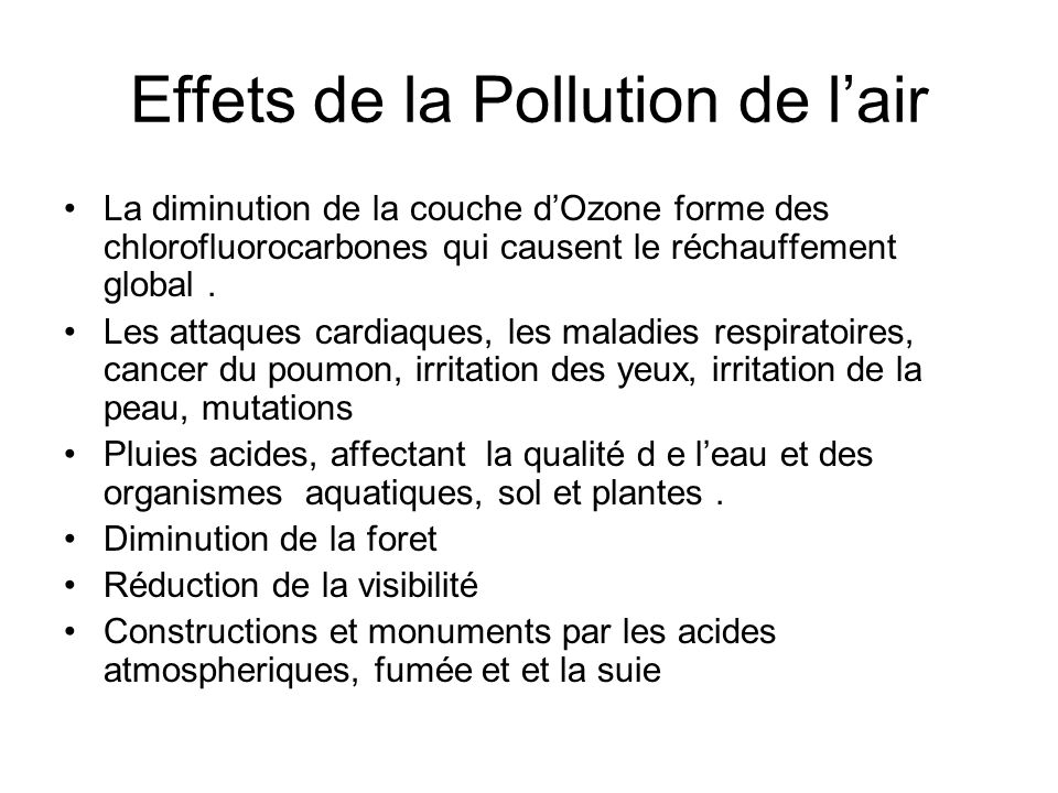 Effets de la Pollution de l'air