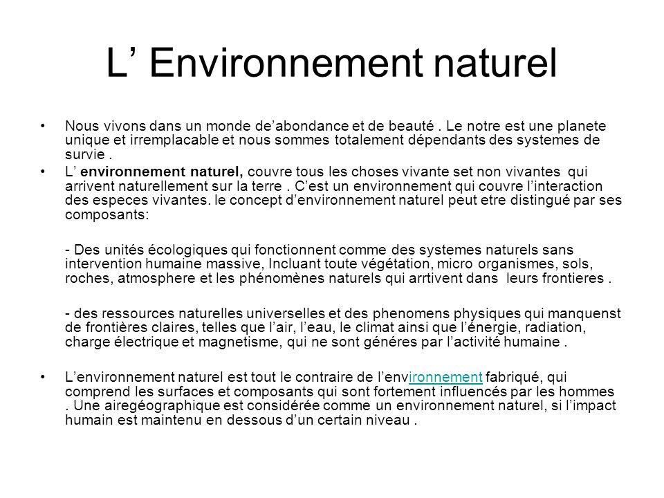 L' Environnement naturel