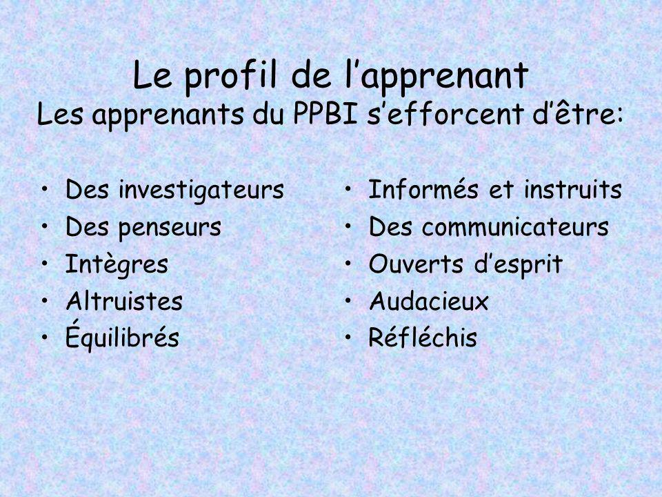 Le profil de l'apprenant Les apprenants du PPBI s'efforcent d'être: