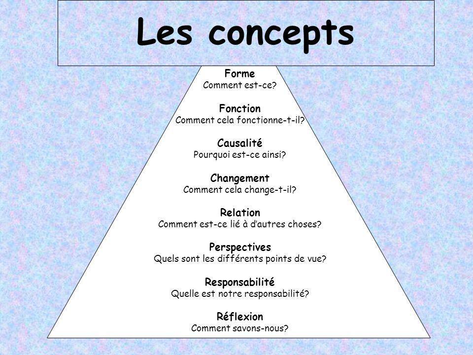 Les concepts Forme Fonction Causalité Changement Relation Perspectives