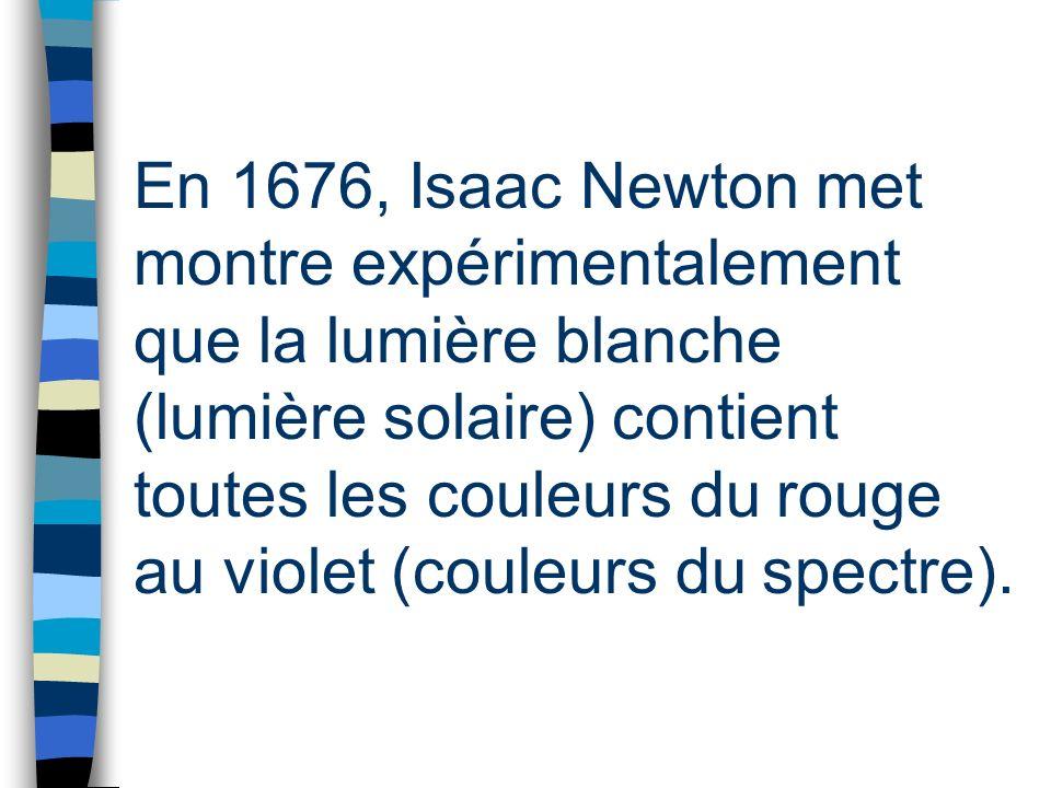 En 1676, Isaac Newton met montre expérimentalement que la lumière blanche (lumière solaire) contient toutes les couleurs du rouge au violet (couleurs du spectre).