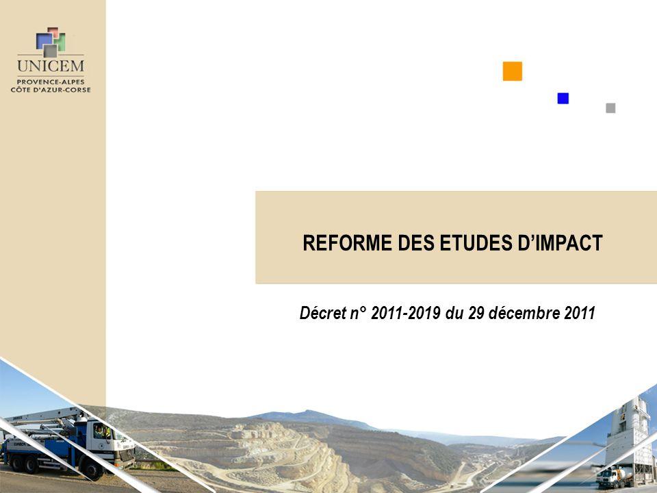 REFORME DES ETUDES D'IMPACT