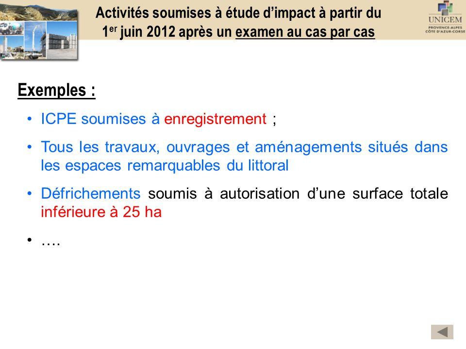Activités soumises à étude d'impact à partir du 1er juin 2012 après un examen au cas par cas