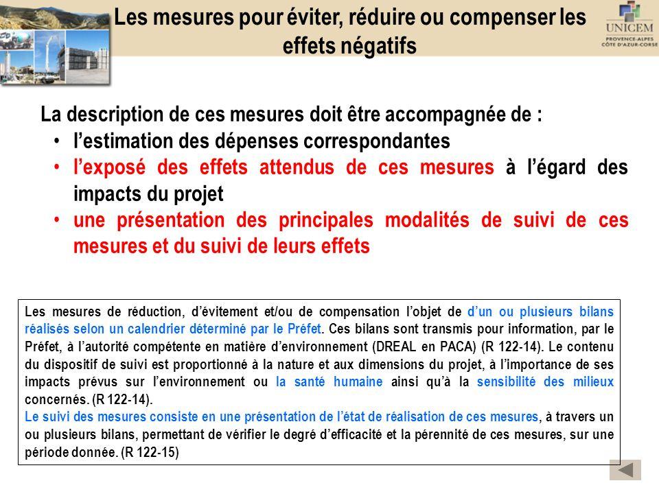 Les mesures pour éviter, réduire ou compenser les effets négatifs